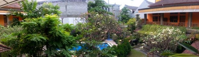 Vue de la terrasse de notre hôtel